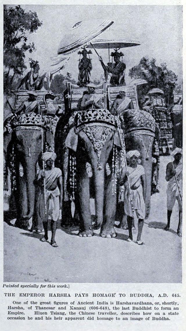 King_Harsha_pays_homage_to_Buddha
